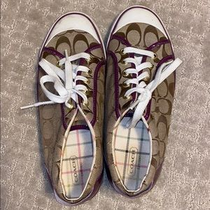 Coach shoes with purple detailing